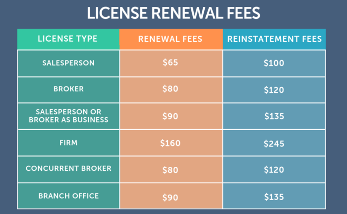 license renewal fees